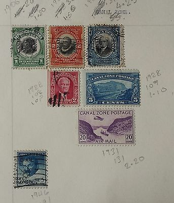 Canal Zone/Panama 1906-1946 Collection From Old Album Hinged.7 Stamps.
