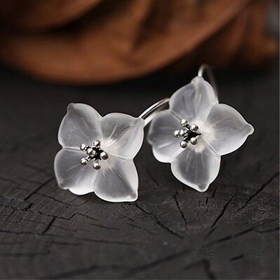 925 Sterling Silver Handmade Flower In The Rain Earrings Natural White Crystals
