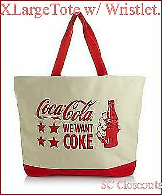 NEW! Coca-cola Oversized Tote Bag with Matching Wristlet ~'We want Coca Cola
