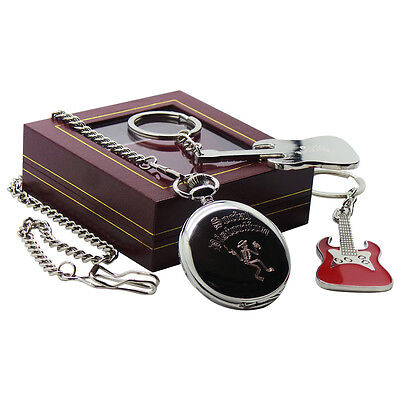 MIKE NESS SOCIAL DISTORTION Pocket Watch with Chain and Electric Guitar Keyring