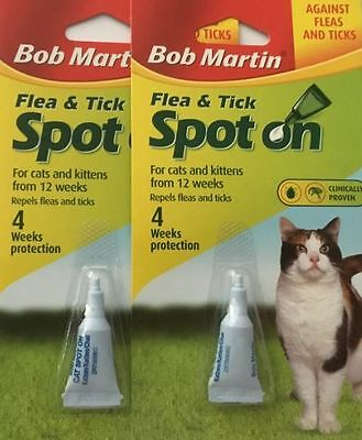 Cat Kitten BOB MARTIN Spot On Flea And Tick Treatment 2 PACKS FREE POST