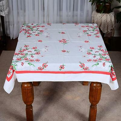"Vintage Floral Table Cloth # 25 - Approx.49 "" X 48 """