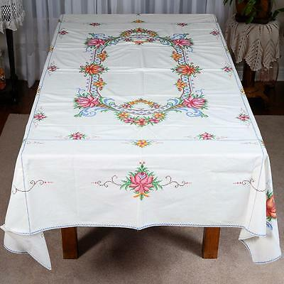 "Off White / Colourful Cross Stitch Pattern Table Cloth # 22 - Approx. 81"" X64 """