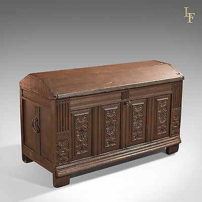 Antique Chest, 17th Century Ships Trunk, English Oak Coffer, c.1700