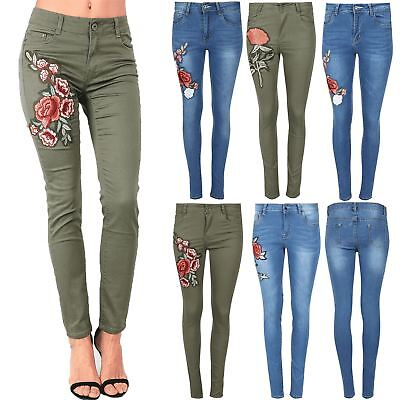 Women Ladies Flower Floral Red Rose Embroidered Skinny Trousers Pant Denim Jeans