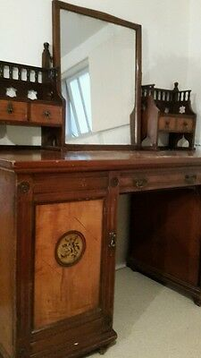 Late victorian satinwood and mahogany dressing table