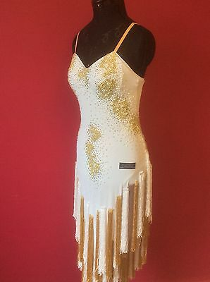 Brand New White / Gold Latin Dress size 8 by Dancemax