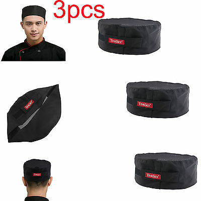 3pcs Mesh Top Skull Cap Catering Chefs Kitchen Hat w/Adjustable Strap(Black)