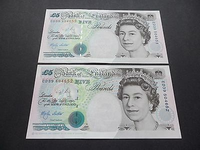 2 Consecutive  Bank Of England £5 Pound Notes  M.v.lowther Ed39  504652 & 504653