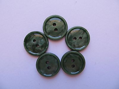 1950's Vintage Sm Mottled Bakelite Green Craft Cardigan Dress Shirt Buttons-17mm