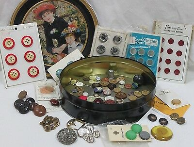 Vintage Buttons Card Lot & Loose Multi Color & Sizes Black Tin Canister P