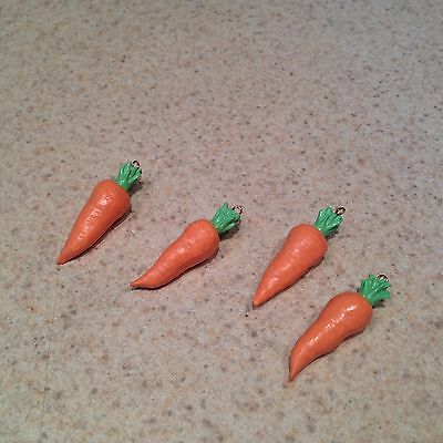 Lot of 4 Easter Bunny Carrots  for hanging on a mini Easter Tree EASTER VILLAGE