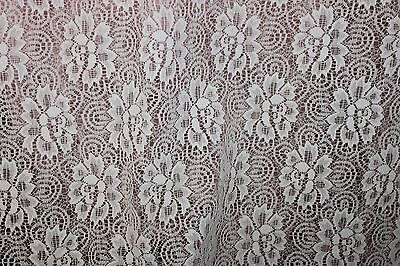 "Vintage Linen White Floral LACE Curtain 82"" high x 60"" wide W"