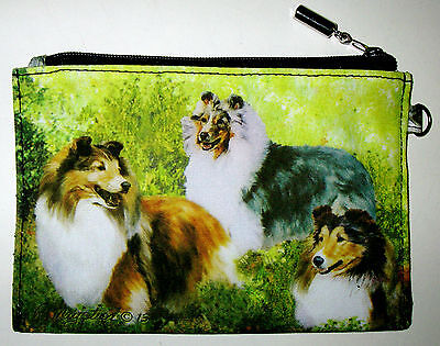 SHETLAND SHEEPDOG Zippered Pouch by Ruth Maystead; full color design both sides