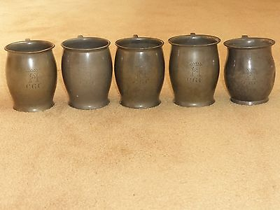 ANTIQUE 5 x 1/2 PINT HUTTON SHEFFIELD ENGLISH PEWTER TANKARDS FAMILY CREST c1900