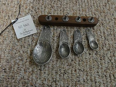 New Pewter Measuring Spoons With Wood & Pewter Key Rack Holder The Tin Woodsman