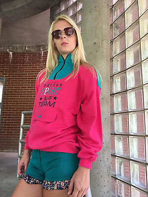 Vintage 80s Color Block Adidas Sport Athleisure Zip Collar Sweatshirt, S M