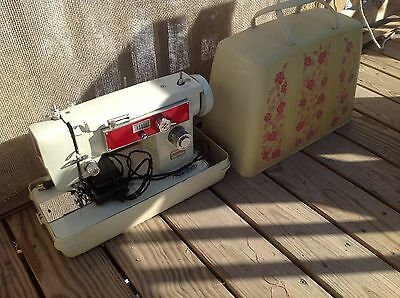 Vintage Brother Wizard Mdl 1241 Working Sewing Machine w/ Pedal Hard Carry Case