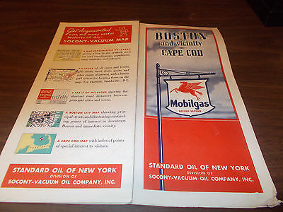 1939 Mobil Boston / Cape Cod Vintage Road Map