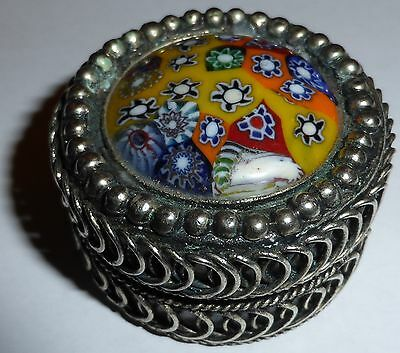 Vintage Metal pill box With Murano glass cover top