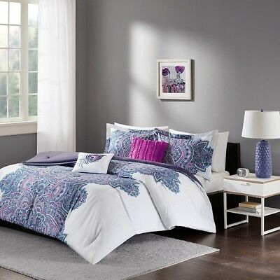 Purple Grey & White Floral Reversible Comforter Set AND Decorative Pillows