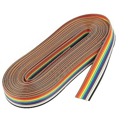 uxcell 5M 10 Way Rainbow Color Flat Ribbon Cable IDC Wire