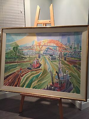 "Original Art - Jack Campbell Acrylic on canvas ""On The Fraser"" 1993"