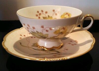 Mitterteich Floral, Cup And Saucer, Gold Trim, Bavaria,germany