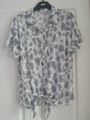 Marks And Spencer Per Una Knot Front Floral Blouse Uk Size 20