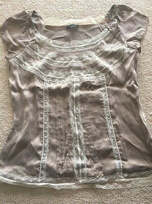 Marks And Spencer Silk And Lace Top Size 8