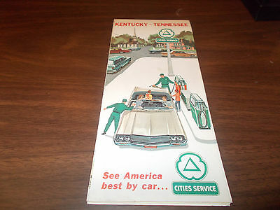 1960s Cities Service Kentucky/Tennessee Vintage Road Map
