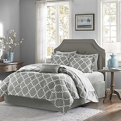 Grey KING Size Bed Skirt Madison Park MPE10-087 Merritt. This Is Bedskirt Only!