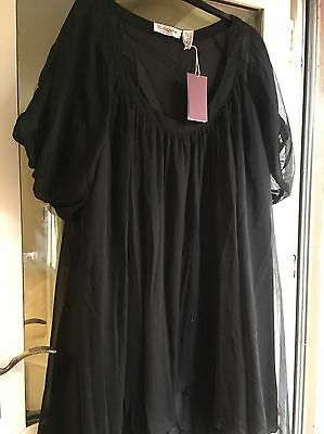 Taillissime Tunic Top Black New Size 22