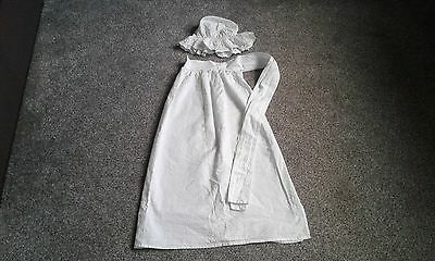 Girls White Poor Victorian Maid Apron Fancy Dress Costume And Mop Cap