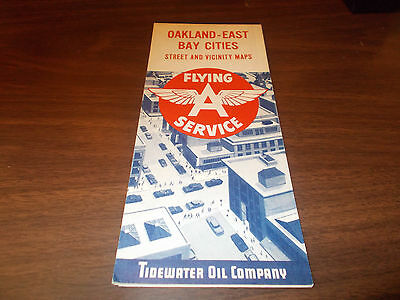 1959 Flying A Oakland/East Bay Cities Vintage Road Map