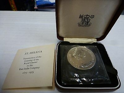1973 St. Helena Proof 25 Pence, Sterling Crown.