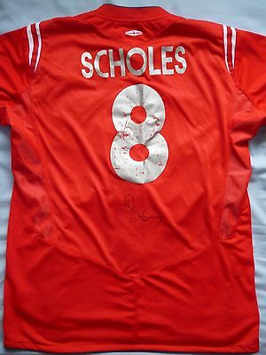 Paul Scholes Signed Manchester United Shirt - Name And Number, Old Trafford