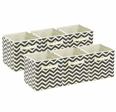 Sorbus Foldable Storage Cube Basket Bin, 6 Pack,Chevron Pattern