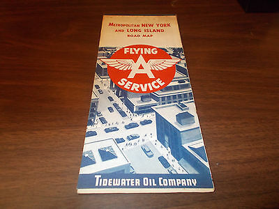 1958 Flying A Metro. New York/Long Island Vintage Road Map