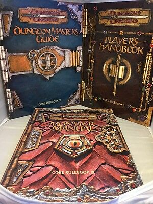 D & D 3rd Edition: Dungeon Master's Guide, Player's Handbook, Monster Manual.