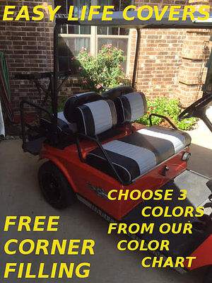 Club Car Ds Golf Cart Custom Seat Cover Front & Rear Combo 60 O.w.q.b. Staple On