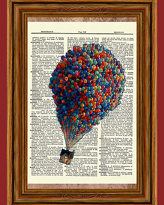 Pixar Up Dictionary Art Print Poster Picture Disney House Hot Air Balloons Book
