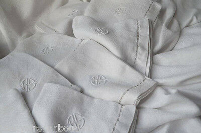 Antique pure linen embroidered table cloth, 10 napkins hand sewn BS monograms