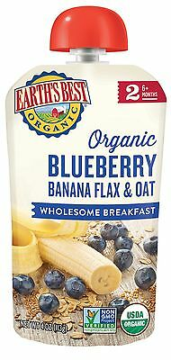 Earth's Best Organic Stage 2 Blueberry & Banana Breakfast 4 Ounce Pouch (Pack...