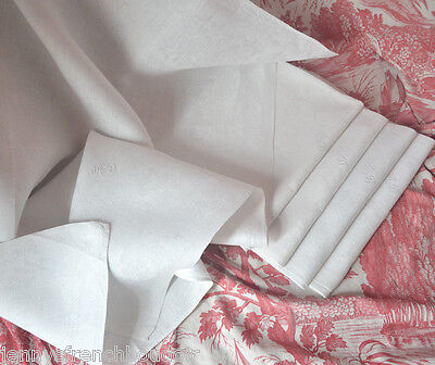 """5 pure fine linen AD hand embroidered monogrammed napkins 29"""" x 34"""""""