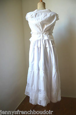 antique French pure cotton petticoat under skirt, eyelet lace insert and frill