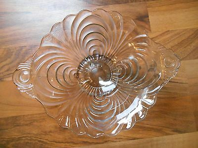 Old Vintage Elegant Glass Bowl with Handles Crystal Clear Camrbidge Caprice