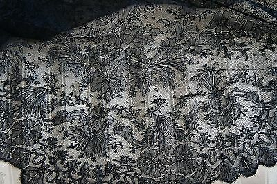 Black Antique Hand Made Lace Veil Mantilla Shawl Amazing Workmanship  70x40
