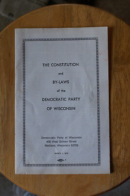 Old Vintage 1972 The Constitution & By-Laws of Democratic Party Wisconsin Book
