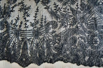 Huge Black Antique Hand Made Lace Mouring Floral Veil Mantilla Shawl  110x54